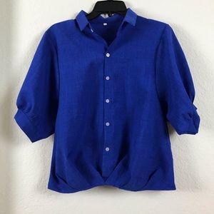 Tops - Retro Blue Puff Sleeve Blouse